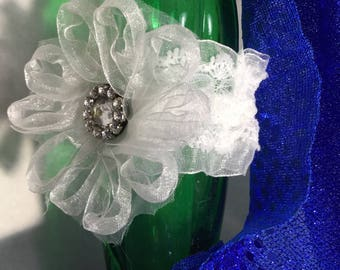 The Victorian Cuff/Bracelet/Wristlet/Bridal Piece in White Lace With Stretch Band