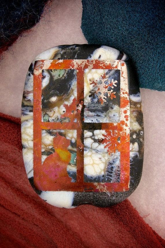 "Lampwork Beads SRA ""Smokey Watches the Snow"" Handmade Sandblasted Glass ~ Iridescent Lustre Tablet Bead"
