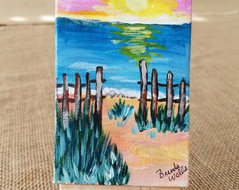 """Path to the Beach - 5""""x3"""" tiny acrylic painting with easel"""