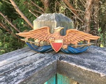 Vintage Midwest American Bald Eagle--Cast Metal--Flag Shield--Patriotic Americana--Brown Eagle