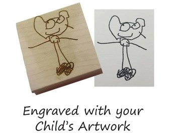 Custom Rubber Stamp Made with your Child's Actual Artwork