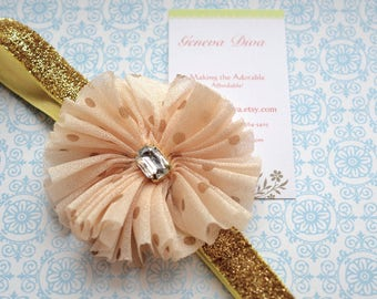 Taupe and Gold Vintage Shabby Stretch Headband