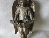 Reserved for Seraphine....c1900 Antique Angel Holy Water Font,  Wall Pocket, Christianity