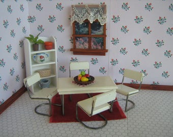 """Vintage Doll House Furniture - Early KAGE White w/ Wire Kitchen or Dining Room Set - 1"""" Scale"""