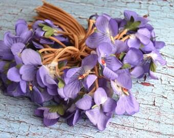 Vintage Purple Violets Millinery Flowers Bouquet Corsage