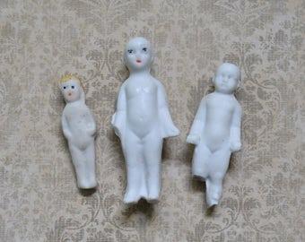 3 Antique Bisque Miniature Dolls for Assemblage