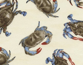 Blue Crab Fabric by Timeless Treasures (By the Yard)