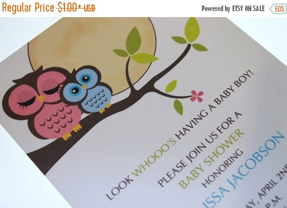 SALE SALE SALE Owl Baby Shower Invitations for Boy or Girl
