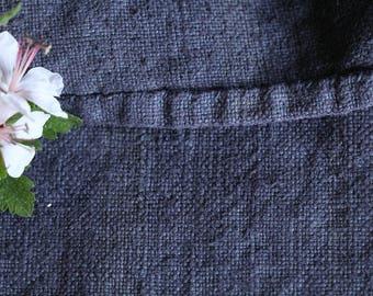 E 225 antique handloomed CHARCOAL grainsack pillow cushion french lin 리넨 runner upholstery fabric wedding 42.52long, vintage, doityourself,