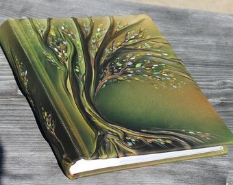Leather photo album 13x12  with Tree Classic Album with tissue paper Anniversary gift wedding gift