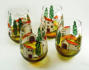 Hand painted stemless glasses - Set of 4 - Village Provencal collection