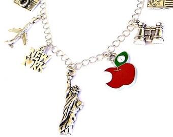 New York City necklace or New York City bracelet, NYC charm bracelet, love Big Apple, Statue of Liberty charm, travel necklace, binoculars