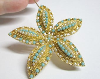 Sarah Coventry Starfish Brooch Turquoise Pearl FREE Domestic Shipping