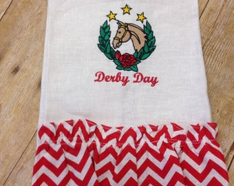 White hand towel with embroidered horse Derby design, Kentucky Derby hand towel, Derby decor, Derby Day
