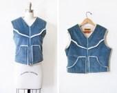 vintage Levi's corduroy vest, 70s sherpa lined vest, blue Levi Strauss vest, medium m