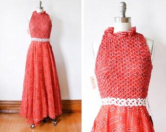 70s bandana dress, vintage 1970s red maxi dress, smocked boho hippie maxi dress, small