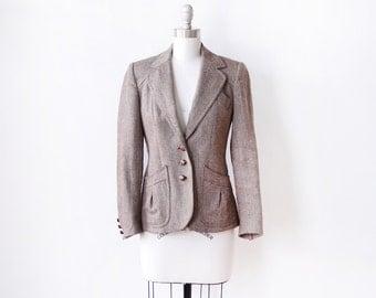 vintage tweed wool blazer, 70s/80s fitted blazer, women's jacket, extra small xs