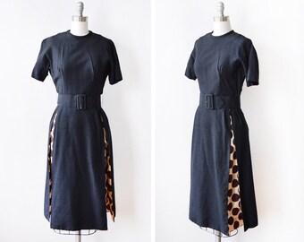 50s black dress, vintage 1950s polka dot dress, mid century cocktail dress, small s