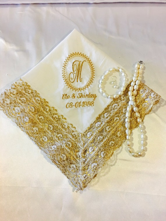 Custom Personalized Wedding Handkerchief Heirloom Wedding