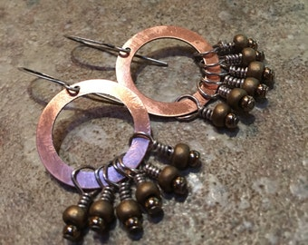 Earrings  Pure fire torched copper rings with matte golden seed beads rustic dangles