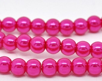 ON SALE Pink Glass Pearl Imitation Round Beads 6mm