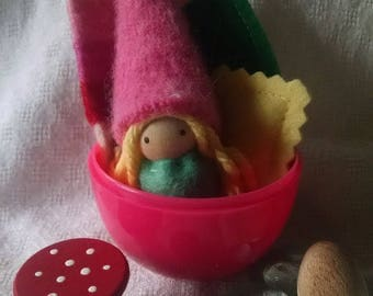 Pink and green gnome in Easter Egg with forest treasures!