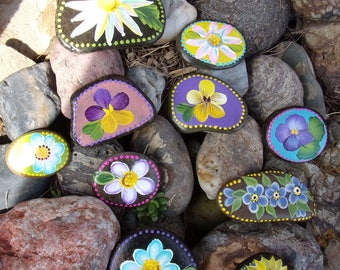 Set of 10 -Two sided- Hand Painted Idaho River Rocks-Paper Weight-Shelf Sitter-Desk Decor-Garden Rocks-Scripture-Daisy, violets, Pansy