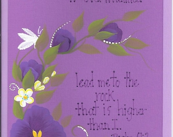 Hand Painted -  Acrylic Original - Greeting Card - Blank - Any Occasion - Psalm 61:2 - Scripture - Lavender - Pansy - Butterfly - Purple