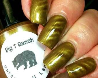 "Magnetic Nail Polish - Metallic Green - ""Jade"" - Magnet Included - Full Size 15ml Bottle"