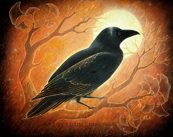 The Raven and the Moon - 11 x 14 Art Print - Oil Pastel Etching