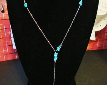 Handmade Sterling Silver Y Necklace with Turquoise chips, Dainty, Lariat Necklace