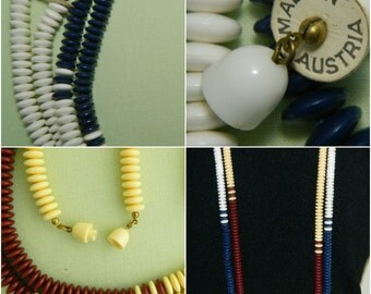 2 Long Flapper Style Necklaces Made in Austria Plastic Roundel Beads or Disks Snake Like Blue Brown 50""