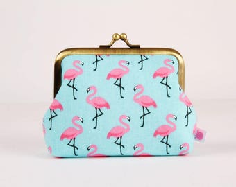Metal frame change purse - Lovely famingos on aqua blue - Deep dad / Kawaii birds / Turquoise pink fuchsia
