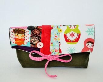 toilet bag,Foldover, foldover clutch, fold over bag, foldover clutch,matriochka,foldover patchwork,pouch,bag chocolate,pencil, makeup, bag