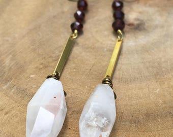 Strawberry quartz, brass, and garnet earrings