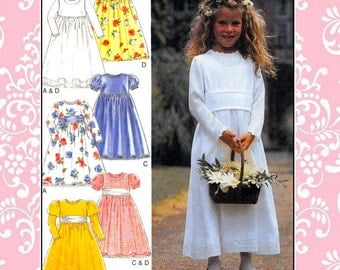 Vintage 1996-LOVELY SPECIAL OCCASION Dress-Sewing Pattern-4 Styles-Empire Waist-Leg-O-Mutton Sleeves-Lace trimBow Sash-Uncut-Size 3-8-Rare
