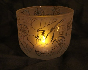Seashell Etched Oval Candle holder or Vase
