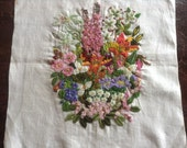 Vintage Colourful Crewel Embroidery on Linen, Old Fashioned Flowers, lilies, hollyhocks and more