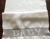 Antique Damask Linen Towel, BABY filet crochet, roses, lace inset, framable