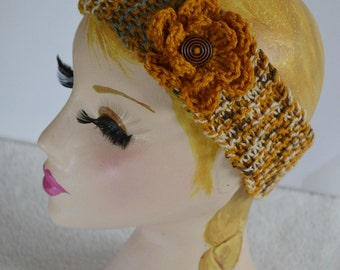 Mustard and Gold Knitted Headband Ear, 7T - Adult Warmer Chunky Knit Hairband