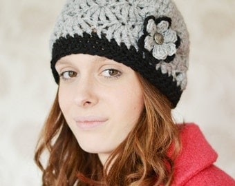 Womens Beanie Hat, Pick Your Colour, Warm Chunky Hat, Crocheted with Flower