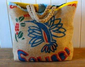 Classy coffee sack tote with colourful lining and plaited hessian straps
