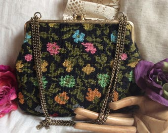 RESERVED petit point flowers double sided small purse, sweet flower tapestry evening pouch, kiss locks black tiny flowers antique handbag