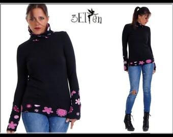 Sweater Fleece Print Flower Pink Lady