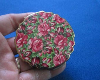 Vintage Stratton Goldtone Compact with Bright Pink Floral Design