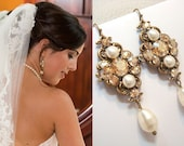 Crystal bridal earrings, Wedding jewelry, Champange Wedding earrings, Bridal jewelry, Swarovski crystal, Antique gold earrings, ASHLYN