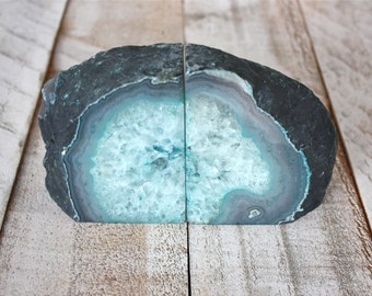 Agate Stone Bookends - Teal