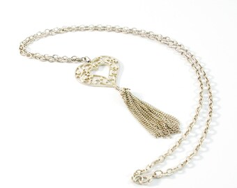 Vintage Filigree Heart Necklace, Long Chunky Silver Tone Chain and Heart Pendant Necklace with Chain Tassel, Long Heart Pendant Necklace