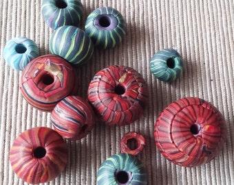 Polymer Clay striped beads, raw bead, scrap beads