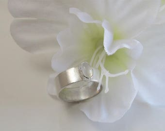 Moonstone Ring, Wide Sterling Silver Band Holds Oval Stone